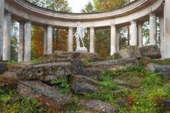 Apollo Colonnade no parque no outono, St Petersburg de Pavlovsk, Rússia Imagem de Stock
