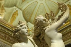 Apollo and Daphne, marble sculpture by italian artist Gian Lorenzo Bernini, Galleria Borghese, stock photography