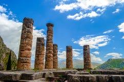 apollo delphi greece tempel Royaltyfria Bilder