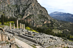 apollo delphi greece tempel Royaltyfri Bild