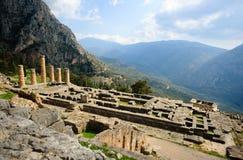 apollo delphi tempel Royaltyfri Foto