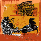 Apollo and diana. Two old gods in front of roma monument - colosseum, vintage grunge vector picture Stock Photos