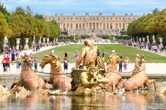 The Apollo Fountain and the gardens of the Palace of Versailles Royalty Free Stock Photo