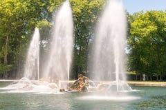 The fountain display of Apollo fountain. The apollo fountain in Versailles Garden in summer during water display Royalty Free Stock Photos