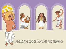 Apollo God van de Zon, de Muziek en de Voorspelling vector illustratie