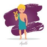 Apollo. Greek gods. Vecto. R illustration. Cartoon character Isolated Flat Mythology Stock Photo