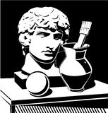 Apollo head, jug and brush. Black and white illustration of still life with cast Apollo head, jug and brush Royalty Free Stock Photography