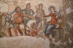 Apollo and Marsyas. Part of Mosaic floor in House of Aion Stock Images