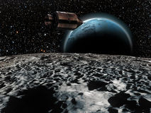 Apollo missions. The Earth rises over the moon, as an Apollo command module passes over the moon landscape Royalty Free Stock Image