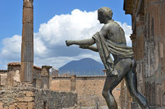 Apollo and Mount Vesuvius Royalty Free Stock Photos