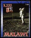 Apollo 11 portostämpel från Malawi Royaltyfri Bild