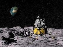 Apollo program - 3D render. Apollo on moon surface, earth in the background - Elements of this image furnished by NASA Stock Photos