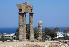 apollo rhodes tempel Arkivbilder