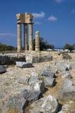 2 apollo s tempel Ö av Rhodes, Grekland Royaltyfri Bild