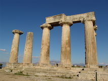 Temple of Apollo in Corinth. Ruined columns of Temple of Apollo in Corinth, Greece Royalty Free Stock Image