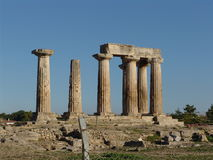 Temple of Apollo in Corinth. Ruins of Temple of Corinth in Greece Royalty Free Stock Photography