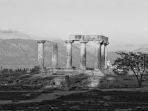Apollo's temple in Corinth Greece. A front view of the most important temple of the antichity in Greece Apollo's Temple in Corinth Stock Photography