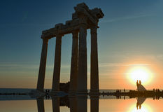 Apollo's temple and sunset and married couples Stock Images