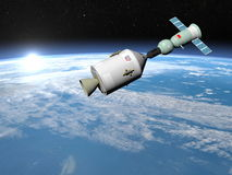 Apollo-Soyuz test project - 3D render. Apollo-Soyuz test project with experimental joint flight of the Soviet spaceship Soyuz-19 and the American spaceship Stock Photography