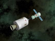 Apollo-Soyuz test project - 3D render. Apollo-Soyuz test project with experimental joint flight of the Soviet spaceship Soyuz-19 and the American spaceship Royalty Free Stock Image