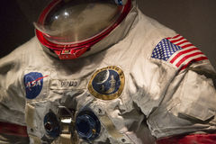 Apollo Space Suit. Detail of the space suit worn by Apollo astronaut Alan Shepard. The image shows the front of the suit, with NASA and Apollo 14 mission patch royalty free stock photos