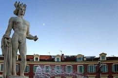 Apollo Statue, Plaats Masséna, Nice (Frankrijk) Royalty-vrije Stock Afbeelding