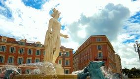 Apollo staty med solspringbrunnen på det Massena stället, historia och kultur av Frankrike fotografering för bildbyråer