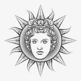 Antique roman apollo sun face. Apollo sun. Antique roman apollo sun face god engraving vector illustration or etching isolated on white background Royalty Free Stock Photo