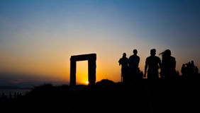 Apollo Sunset. Sunset at Apollo Temple's entrance in Naxos Royalty Free Stock Photography