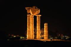 Apollo tempel på acropolisen av Rhodes Arkivbilder