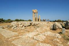 Apollo tempel på acropolisen av Rhodes, Grekland Royaltyfria Foton