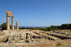 Apollo tempel på acropolisen av Rhodes, Grekland Arkivbilder