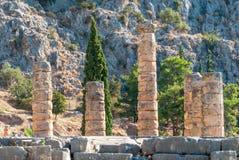 Apollo Temple à Delphes, au bâti Parnassus, la Grèce Photographie stock libre de droits