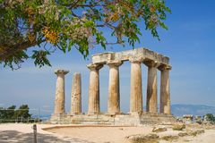 Apollo Temple. Ancient Greek temple in Corinth, Greece Royalty Free Stock Images