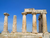 Apollo Temple. Apollo Temple in Corinth, Greece. Perfect blue sky Royalty Free Stock Image