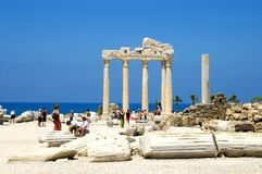 Apollo Temple. Toerists visiting Apollo Temple in Side Turkey Stock Images