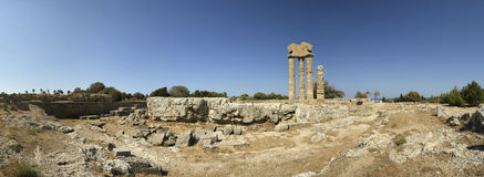 Apollo Temple at the Acropolis of Rhodes Stock Images