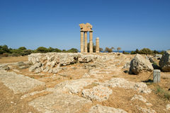 Apollo Temple at the Acropolis of Rhodes, Greece Royalty Free Stock Photos