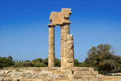 Apollo Temple at the Acropolis of Rhodes, Greece Stock Photography
