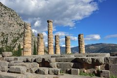 Apollo Temple in Delphi, Greece Royalty Free Stock Images