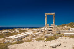 Apollo Temple entrance, Naxos island, Cyclades. Seascape of the island of Naxos, Greece. The most famous Greek view royalty free stock image