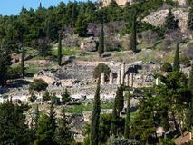 Apollo Temple i oraklet Delphi, Grekland Arkivbild