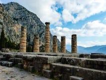 Apollo Temple i oraklet Delphi, Grekland Arkivbilder
