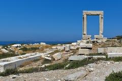 Apollo Temple ingång, Naxos ö, Cyclades Arkivfoto