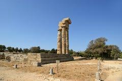 Apollo Temple på akropolen av Rhodes, Grekland Arkivbilder