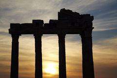 Apollo temple ruins. Digital composite sunset and classic greek style Apollo temple ruins in Side Turkey Stock Images