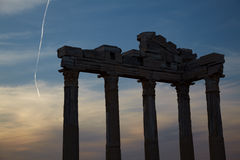 Apollo temple ruins. Digital composite sunset and classic greek style  in Side Turkey Stock Images
