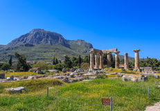 Apollo temple ruins in Ancient Corinth Stock Photography