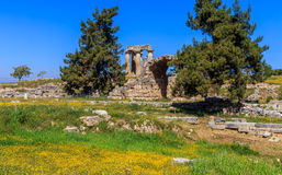 Apollo temple ruins in Ancient Corinth Stock Images