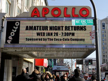 Apollo Theater in Harlem. One of the most famous music halls in the United States, associated almost exclusively with African-American performers. It is